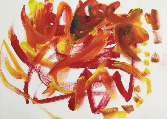 An abstract red, orange and yellow painting from an Upstream Arts class