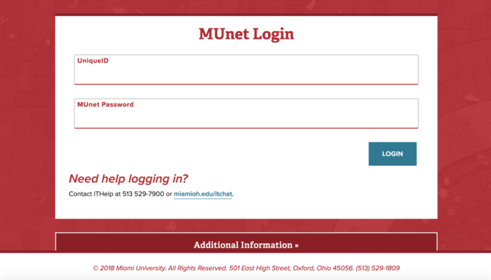 New login screen with higher red contrast. It says MUnet Login at the top and includes login prompts for UniqueID and password
