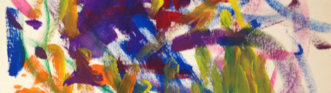 Multi-colored detail from an abstract painting created in Upstream Arts programming