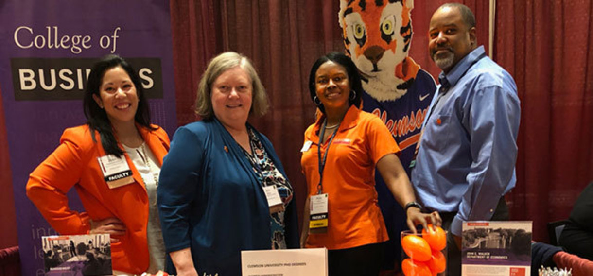Helen Diamond Steele, Janis Nelson, Phebe Davis and Delancy Bennett represented Clemson at the PhD Project annual conference.