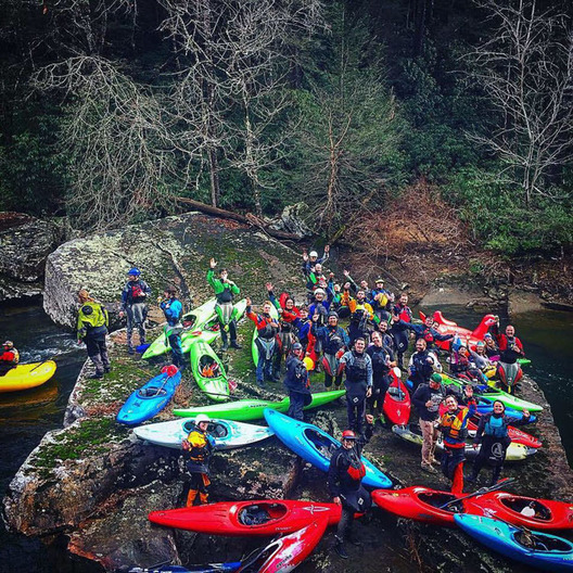Whitewater kayakers at Daddys Creek Go Fast Day
