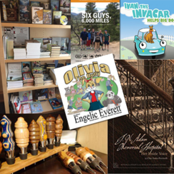 A collage of images of items that can be purchased at the Museum of disAbility History; books, wine stoppers.