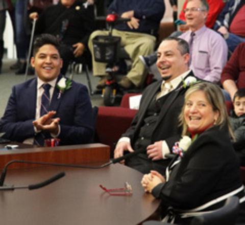 Photo of Councilors Eddy Morales, Mario Palmero and Janine Gladfelter.