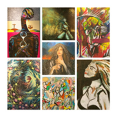 """A collage of art gallery for photos for the exhibit """"Agony and Ecstasy."""""""
