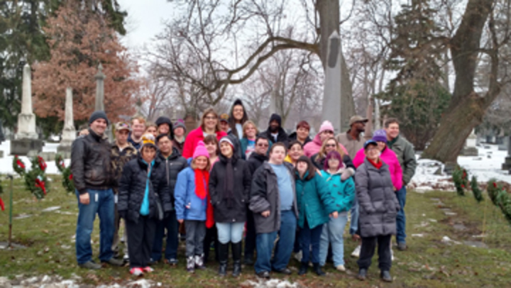 Photo of program participants in Forest Lawn Cemetary.