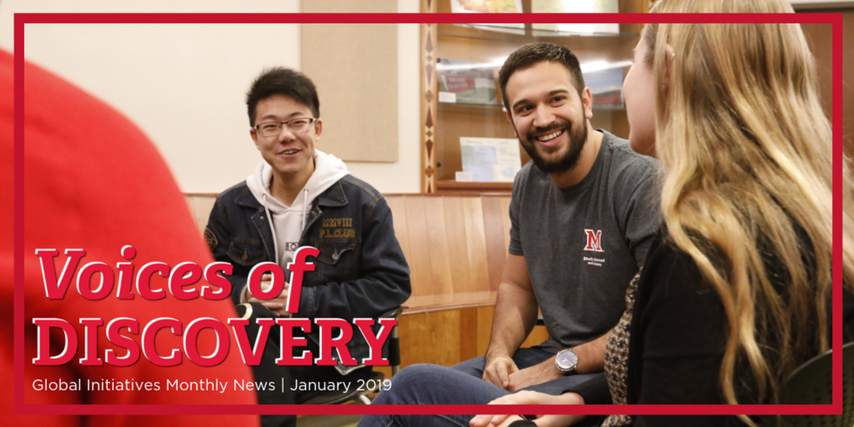 Voices of Discovery; Global Initiatives Monthly News   January 2019, image of three students looking at eachother, having a conversation, smiles