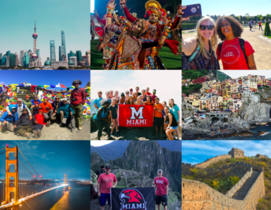 collage of study abroad and international student photos