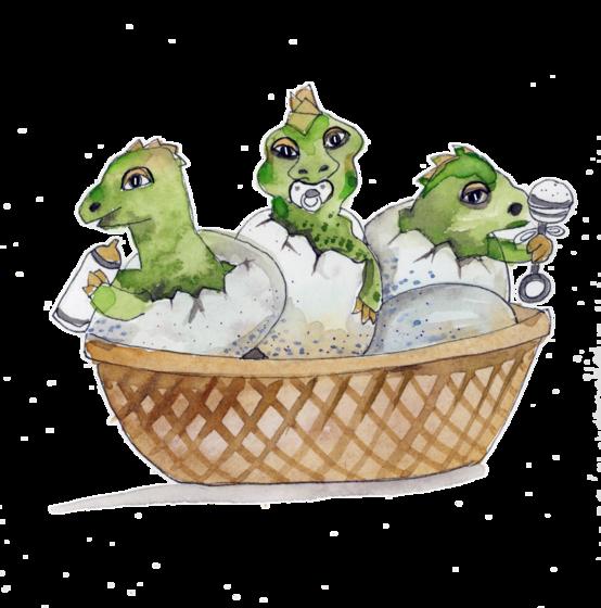 Illustration of baby lizards