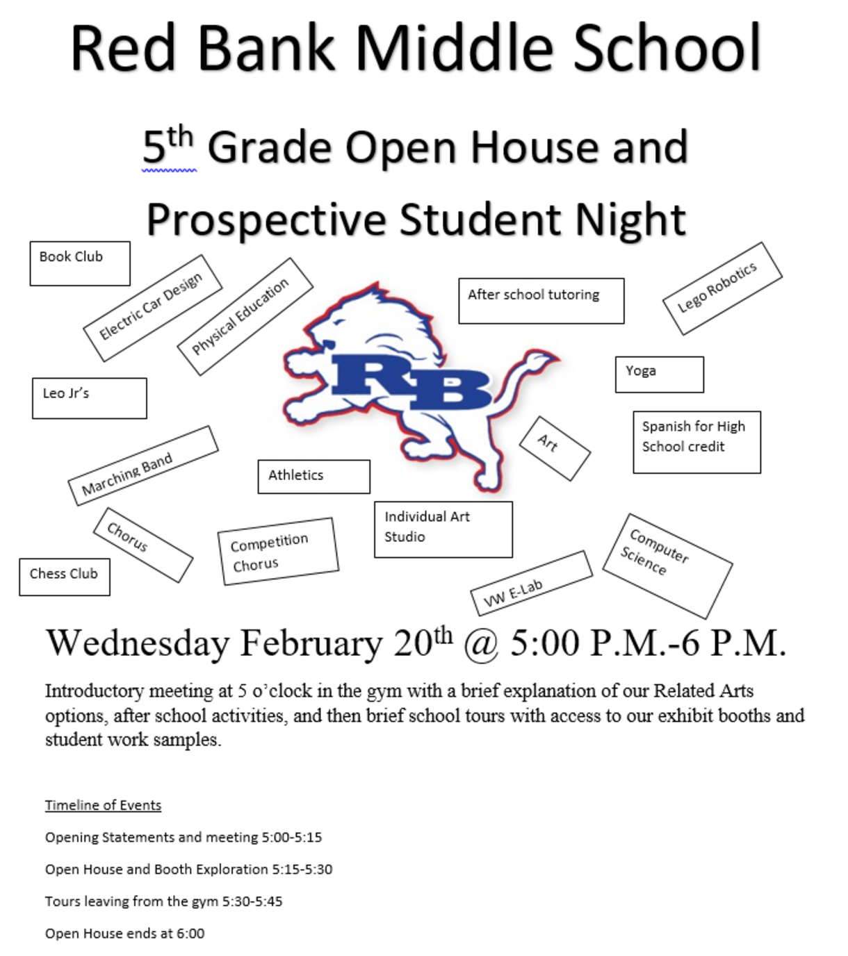 RBMS Open House Flyer
