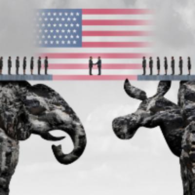 US Flag with Elephant and Donkey
