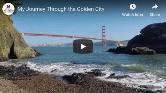 """video thumbnail that says """"My Journey Through the Golden City"""", YouTube play button icon and the image is of the Golden Gate bridge in CA"""