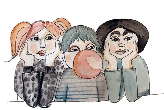Illustration of three children, one of whom is blowing a bubble-gum bubble