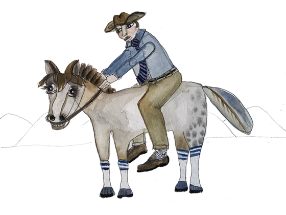 Illustration of a cowboy on a horse by Stacy Milrany
