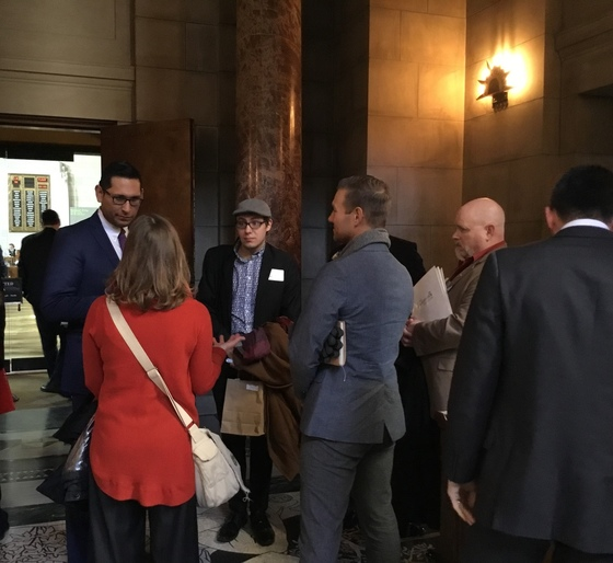 Constituents talk to their senator at State Arts Advocacy Day