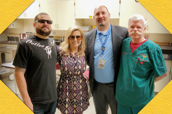 """""""Storage Wars"""" stars Jarrod Schulz and Brandi Passante, Cypress College DIrector of Campus Communications Marc Posner, and retired Cypress College Mortuary Science Professor Dave McCament"""
