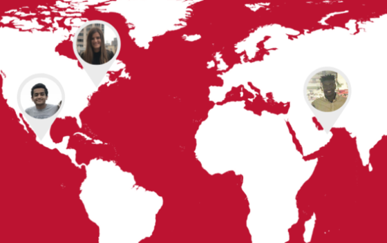 red and white map graphic with three circle headshots of students in specific parts of the world