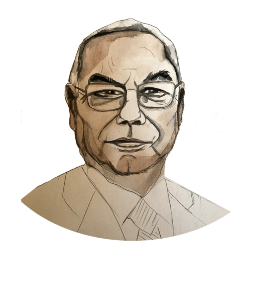 Illustration of Colin Powell by Stacy Milrany