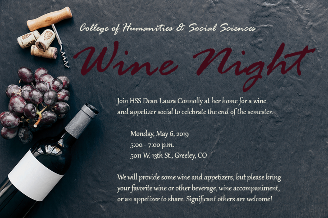 Join us for a Wine Night on May 6 at Laura's house!