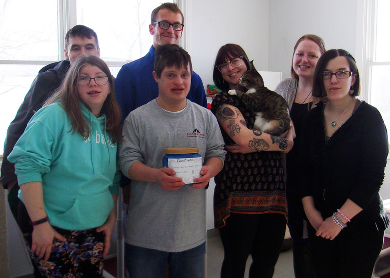 Pictured with their hard-earned donation – and a furry cat friend – is the YALT crew (from left to right): Aaron Montroy, Kasey Gaczewski, Noah Capodicasa, Nicholas Gonser, Samatha Kent, Brittnay Breen and Haley Kozuch.