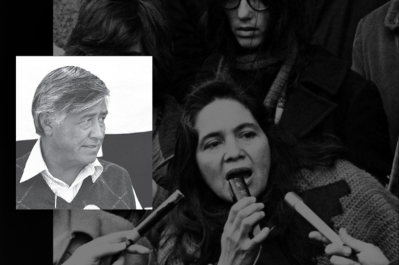 cesar chavez headshot and image of woman speaking in microphone from film, Dolores