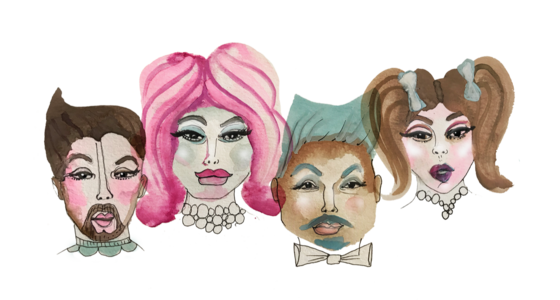 Illustration of drag kings and queens by Stacy Milrany