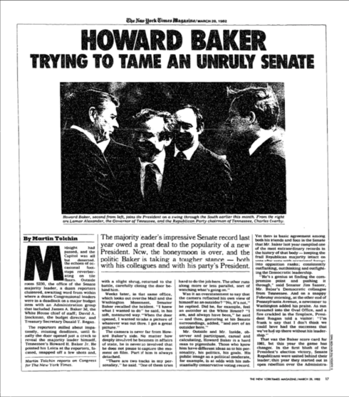 """Newspaper story """"Howard Baker: Trying to Tame an Unruly Senate"""""""