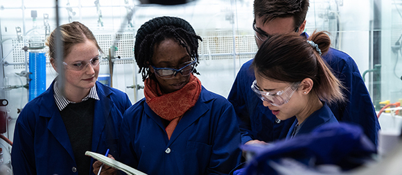 GW chemistry students in a lab