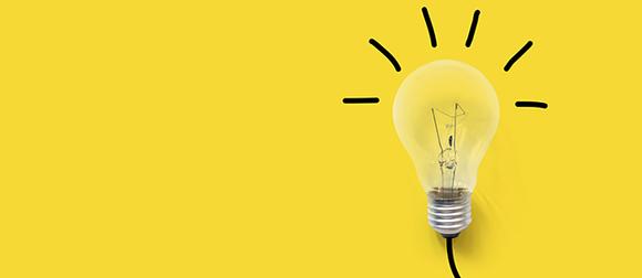 lightbulb on yellow background