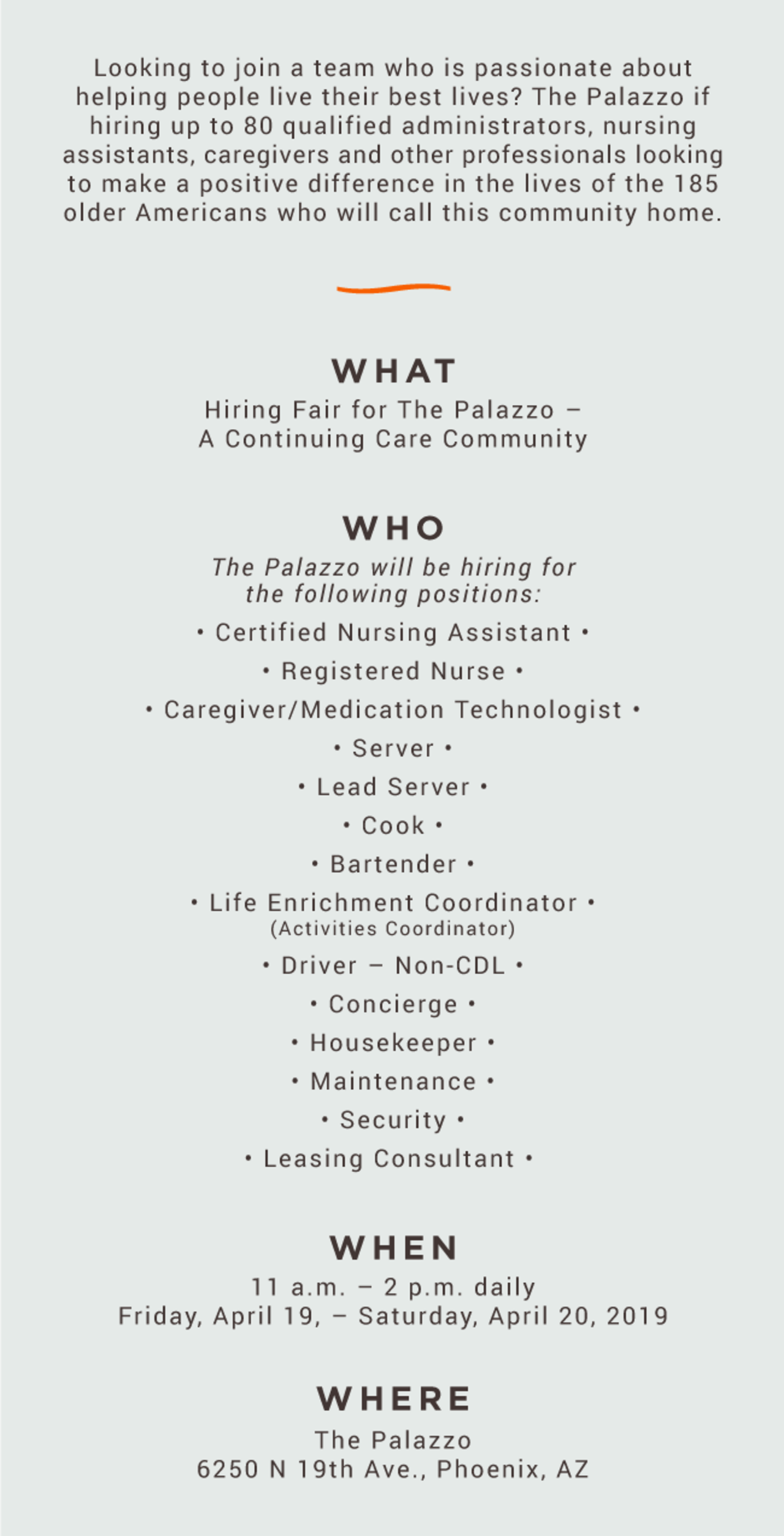 Hiring Fair for The Palazzo @ The Palazzo
