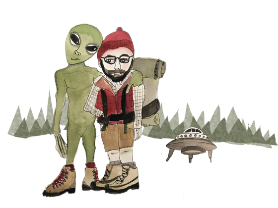 Illustration of a friendly alien with a Pacific Northwest hiker
