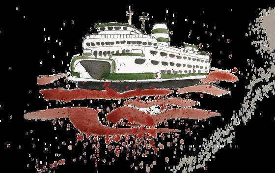 Illustration of a Washington ferry