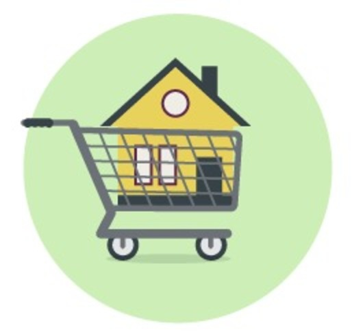 Image of house in cart.