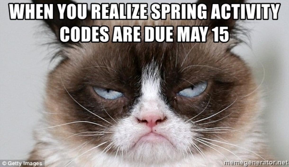 Activity codes due May 15