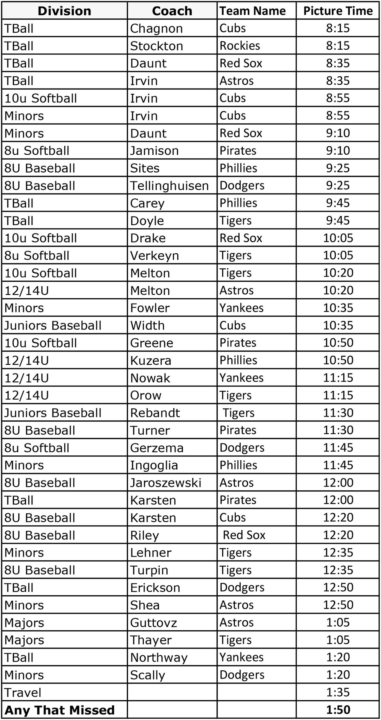 SFLL Schedule