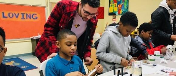 student teaching elementary school children