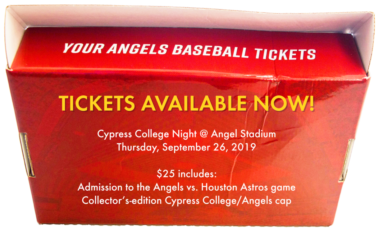 Tickets Available Now! Cypress College Night @ Angel Stadium Thursday, September 26, 2019 $25 includes: Admission to the Angels vs. Houston Astros game and collector's-edition Cypress College/Angels cap