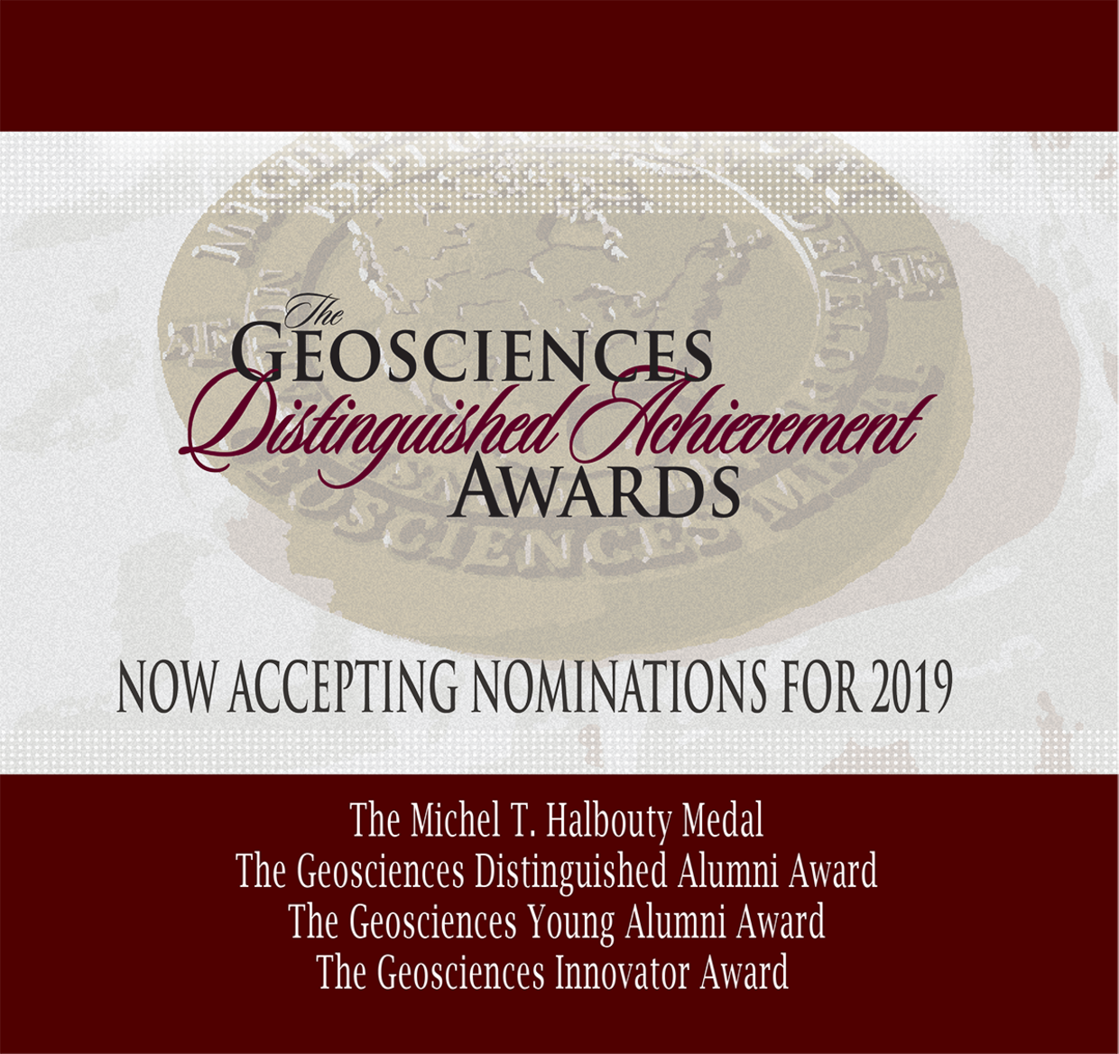 Call for nominations for 2019 Geosciences Distinguished Achievement Awards