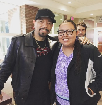Lydia Yellow Hawk with guest speaker Ice T