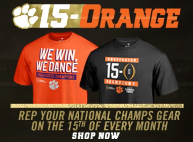 15 and Orange - Rep your national champs gear of the 15th of every month. Click to shop now.