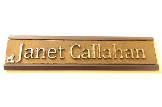 Link to the Unscripted story about Janet Callahan's unique nameplate