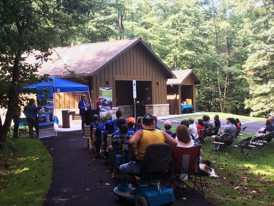 DCNR Secretary Cindy Dunn addresses the crowd at Colonel Denning State Park