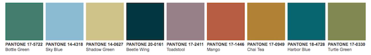 Pantone Tea Garden colour palette