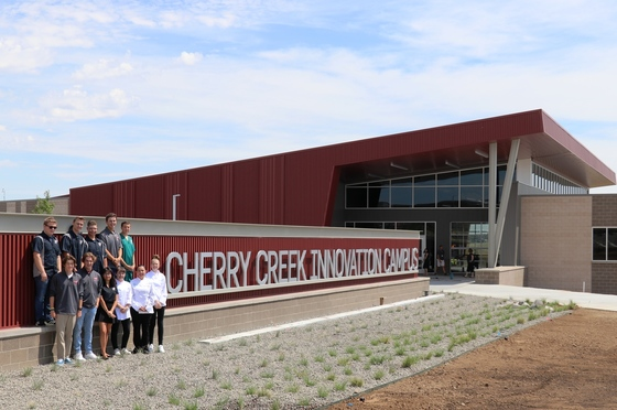 Students in front of Cherry Creek Innovation Campus