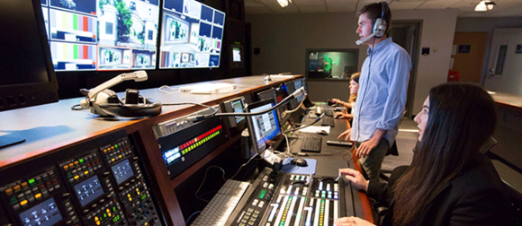 Two students in control room