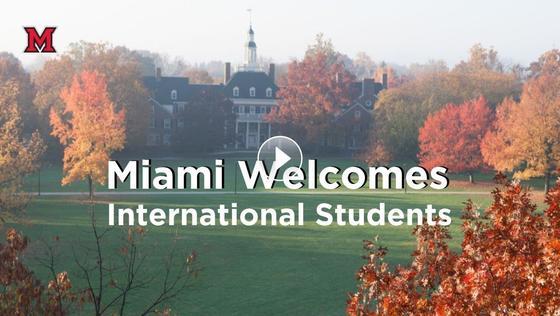 Miami Welcomes Internatiobnal Students, MacMillan Hall, fall leaves