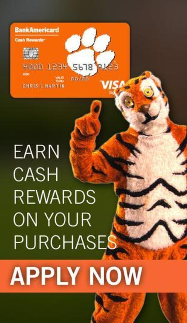 Bank of America Clemson Credit Card. Earn cash rewards on your purchases. Apply now.
