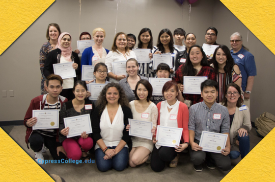 Cypress College ESL scholarship winners at the annual ESL potluck