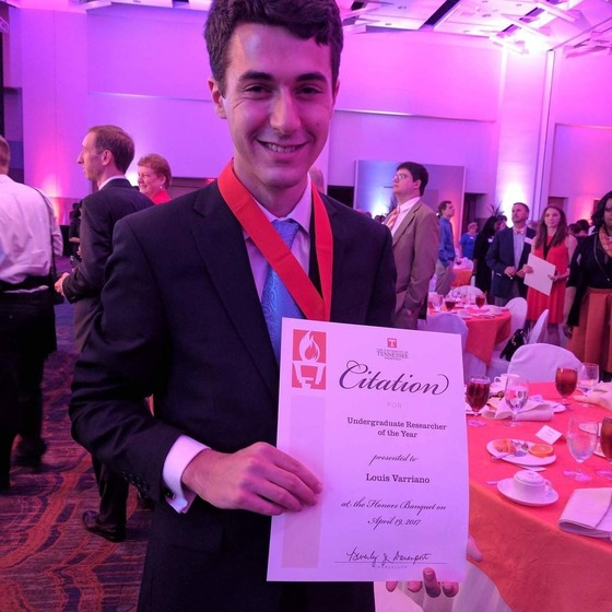 Louis Varriano, winner of the Undergraduate Researcher of the Year award in 2017