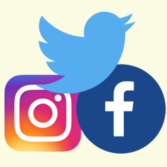 Social media logos for twitter, facebook, and instagram