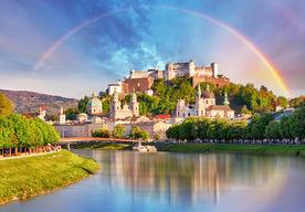 Salzburg, Austria, with rainbow in sky